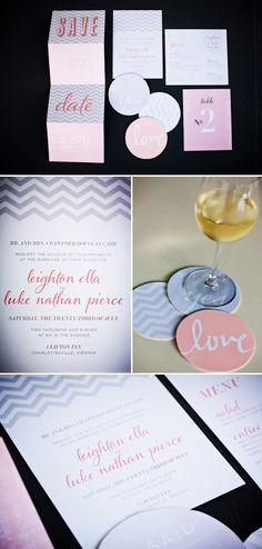 Modern chevron wedding stationery