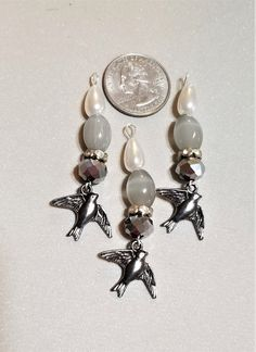 BF-289; Three Drops of Pearls Glass and Silver Faceted Beads with Accents of Faceted Glass and Birds that Dangle Upcycled Crafts, Faceted Glass, Craft Items, Silver Beads, Third, Craft Projects, Dangles, Brooch, Drop Earrings