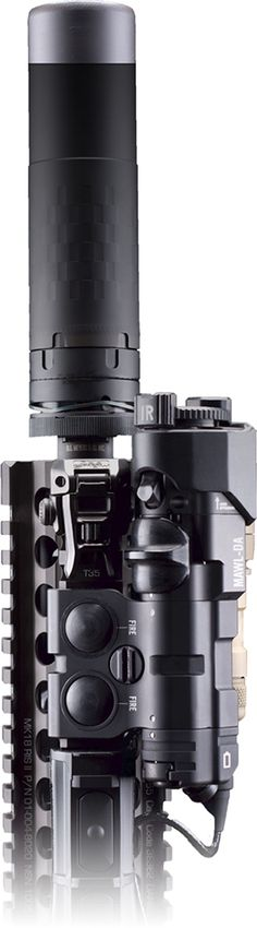B.E. Meyers & Co., MAWL infrared individual aiming laser on a SOCOM Mk18 RIS II with a SilencerCo Saker suppressor.