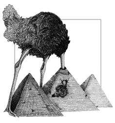"""Ostrich and the Great Pyramids""  Illustration done with Micron Pens on Bristol Board. www.laurenmarieclark.com"