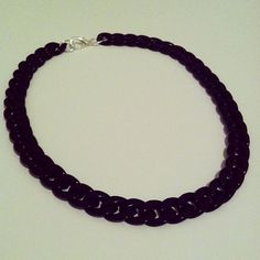 Black chain necklace chunky black chain link by McIntoshJewelry,