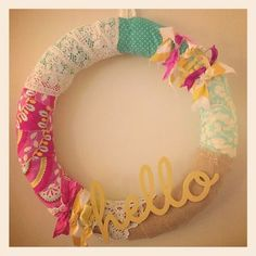 Scraps fo Fabric Wreath! I think this would be cute to do for a specific holiday, or one to keep up all year long! I want to do one with scraps of fabric from my trips to Ghana!