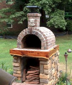 This Italian styled oven calls Kentucky home. A photogenic combination of Brick, Wood and Natural Stone Veneer. BrickWoodOvens.com