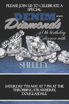 Denim and Diamonds Birthday Invitations: Denim and Diamonds Invitations
