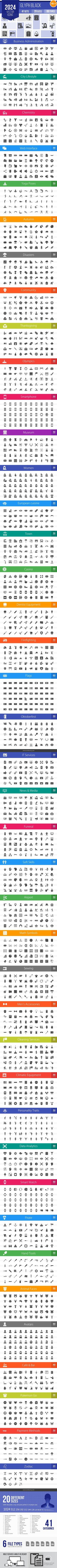 2024 Vector Glyph Icons (V4). Sewing Icons