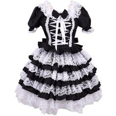 Partiss Women's Ruffles Punk Retro Gothic Classic Lolita Dress ($55) ❤ liked on Polyvore featuring dresses, gothic clothing dresses, frill dress, goth dress, gothic punk dresses and punk dress