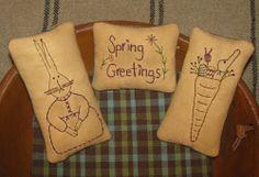 Set of 3 Primitive Stitchery Hanger/Ornaments ~ Spring Greetings, Bunny, Carrot #NaivePrimitive