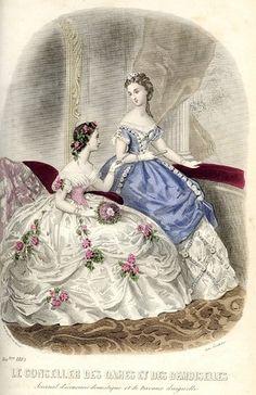 1862. Evening dresses, Le conseller des dames et des demoiselles.