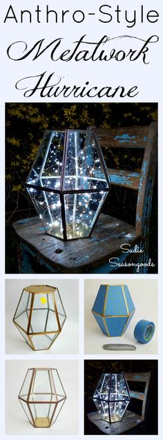 Create a DIY-version of Anthropologie's metalwork hurricane by repurposing an outdated vintage brass chandelier or light fixture! A super easy upcycle project that is perfect for your outdoor spring and summer parties! They stole my idea Decoracion Habitacion Ideas, Home Decoracion, Easy Diy Crafts, Diy Craft Projects, Upcycled Crafts, Upcycling Projects, Diy Luminaire, Do It Yourself Baby, Diy Inspiration
