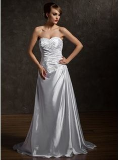 A-Line/Princess Sweetheart Court Train Charmeuse Wedding Dress With Ruffle Beading Appliques Lace (002012093) - JJsHouse