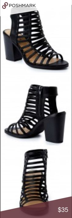 "NIB Black Caged Block Heels Sz 7 Black Caged Block Heels  NIB  Size 7 Heel measures 3.25"" Paisley's Closet Shoes Heels"