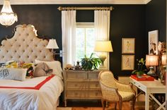 Benjamin Moore Graphite was the color of choice in the master bedroom