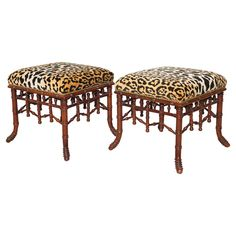 Vintage leopard and Faux Bamboo Stools