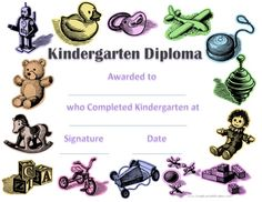 Kindergartengraduationcertificatetemplate babu pinterest these kindergarten certificates can be awarded to children at the end of the year each diploma can be personalized with the childs name yadclub Images