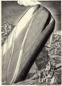 Moby Dick, by Herman Melville, illustrated by Rockwell Kent vol. II p. 121 (Of the Less Erroneous Pictures of Whales, and the true pictures of Whaling Scenes) Rockwell Kent, Norman Rockwell, Vintage Illustration Art, Black And White Illustration, Schmidt, Moby Dick, White Whale, Whale Art, Sea Monsters