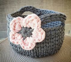 Check out this item in my Etsy shop https://www.etsy.com/au/listing/468265260/small-crochet-basket-with-flower