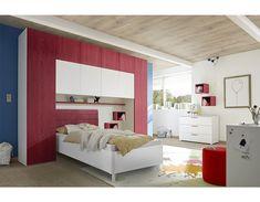 Pont de lit design rouge et blanc NATHEO 2 Silk Bedding, Bed Sizes, Framing Materials, Wood Species, Armoire, Upholstery, Design, Furniture, Wood Wood