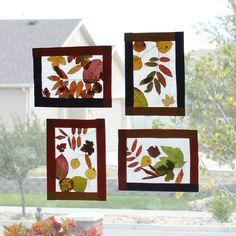 Fall fun: go on a leaf hunt & try this cute fall leaf stained glass idea w/the kiddos. #kidcraft #DIY