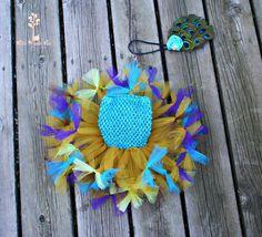 Pretty as a Peacock Tutu Dress Set with Matching Feather Headband by LittlePumpkinLove, $20.00