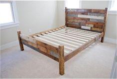 Marco de cama de madera reciclada con junta por AugustDesignsWood