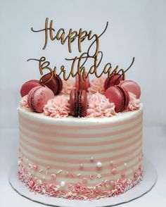This strawberry cake just made me happy. I love pink… and stripes…. and cake - Leckere Kuchen Happy Birthday Torte, Beautiful Birthday Cakes, Birthday Cake Toppers, Beautiful Cakes, Cake Birthday, Birthday Ideas, Birthday Cards, Happy Birthday Cakes For Women, Birthday Cake Ideas For Adults Women