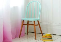 Half painted chair identical to the chairs I'm working on/re using.  And half painted table too