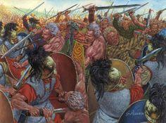 Celtic warriors fight the Republican Roman Legionaries of Caesar. ~ art by Giuseppi Rava