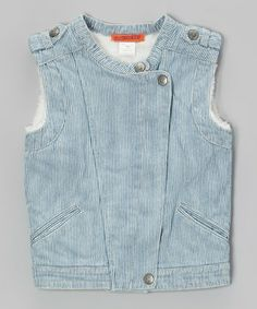 This denim vest brings a shot of chic to a little gal's wardrobe with classic railroad stripes and a hip asymmetrical button front.