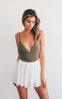 Olive Deep V Bodysuit  #kyliejenner #clothes #tumblr #outfit #kendalljenner #style