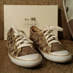 Coach Shoes Poppy brown and gold Coach shoes Coach Shoes Sneakers