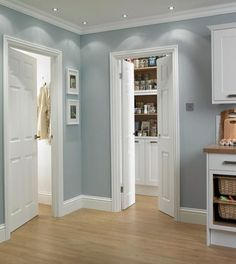 6 Panel Grained   Internal Moulded Panel Doors   Doors & Joinery   Howdens Joinery Kitchens And Bedrooms, Kitchen Family Rooms, White Fitted Wardrobes, Utility Room Designs, Doors And Floors, Door Casing, Build A Closet, New Kitchen Designs, Shutter Doors