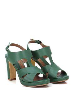 AUDLEY - Sandalo alto - Donna - Sandalo alto in pelle con cinturino alla caviglia e suola in cuoio e gomma. Tacco 105, platform 30 con battuta 75. - GREEN - € 189.00