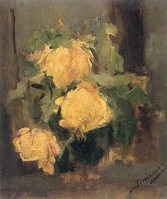 Yellow Roses Artist: Olga Boznańska Year: 1896 Type: Oil on canvas Female Painters, Yellow Flowers, Art Flowers, Love Art, Still Life, Illustrators, Oil On Canvas, Drawings, Poland