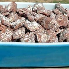 Puppy Chow Allrecipes.com - Add 1/4 cup butter, 1tsp vanilla, and only use 8 cups cereal.  Yummmmmm