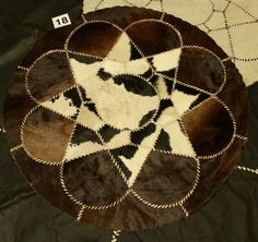 AFRICAN FLOWER design Rug Leather Hide Patchwork Area Carpet taxidermy Egyptian #Unbranded