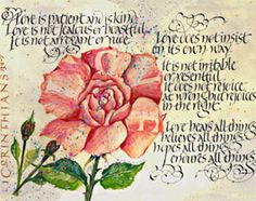 Corinthians Biblical verse by calligraphy artist Dave Wood - available framed in our gold,silver or rosewood frames $75