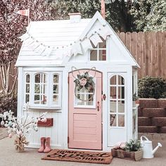 "🌸🐰 I finally wrote all about this fun little makeover project on…"" Pink Playhouse, Playhouse Decor, Backyard Playhouse, Backyard Playground, Playhouse Ideas, Kids House, My House, Kids Play Houses, Outdoor Spaces"