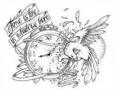 Risultati immagini per half clock tattoo design Tatto Clock, Clock Tattoo Design, Wing Tattoo Designs, Tattoo Designs And Meanings, Tattoo Sketches, Tattoo Drawings, Art Drawings, Pencil Drawings, Time Tattoos