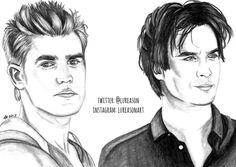 salvatore damon vampire diaries stefan drawings drawing draw sketches vampires face sketch celebrity portraits celebrities male