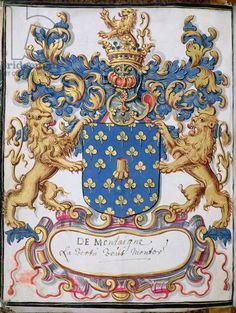 Coat of arms of Michel Eyquem de Montaigne (1533-92) (vellum) [BNF, Paris, Arsenal Ms 2151, f°lv]