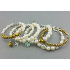 Bransoletka perły naturalne ecru złoty kryształek Beaded Bracelets, Jewelry, Fashion, Malachite, Jewellery Making, Moda, Jewerly, Jewelery, Fashion Styles