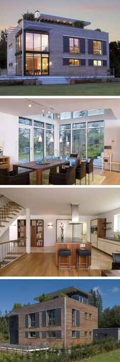 Modernes Design Haus Mit Galerie Flachdach Architektur Und Holzfassade    Holzhaus Als Einfamilienhaus Modern