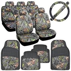Hawg Camo Seat Covers Heavy Duty Rubber Floor Mats w/ Camouflage Inlay & Cushion Grip Steering Wheel Cover Set Camo Seat Covers, Car Seat Cover Sets, Car Covers, Camo Car Accessories, Rubber Floor Mats, Bike Wheel, Wheel Cover, Camouflage, Car Seats
