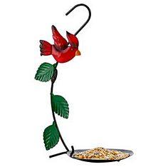 Country Cardinal Bird Feeder/ I like safflower and black-oil sunflower seeds.