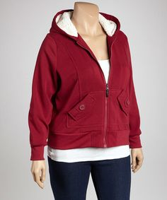 Take a look at this Boysenberry Button Pocket Zip-Up Hoodie - Plus by Dollhouse on #zulily today!