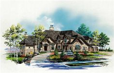 This luxury Craftsman plan has six bedrooms and 7.5 bathrooms.
