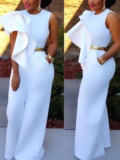 Lacy Solid Color Sleeveless Jumpsuit Casual White Bodycon Long Romper