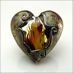 A FIERY HEART - Lampwork Heart Pendant Bead by Beads by Stephanie, via Flickr