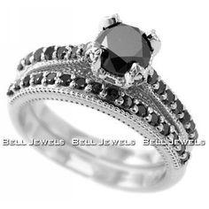 black diamond wedding rings | wpid 41YrIzIFmRL Fancy Black Diamond Engagement Ring/Wedding Band Set ...