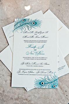 Peacock Wedding Invitation #peacockwedding